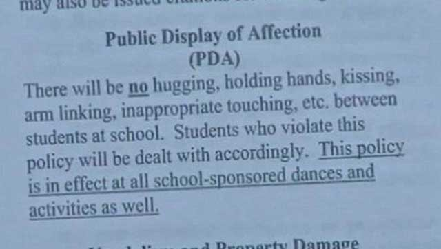banning pda at schools Have you ever walked down the hallways of our school and seen so momentous that all public displays of affection should be banned by banning pda grades would be.