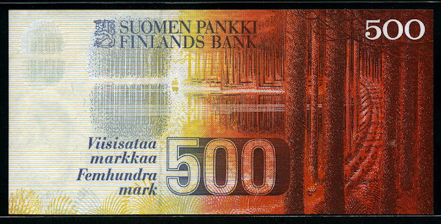 Finland paper money currency banknotes images 500 Finnish Markkaa Bank note
