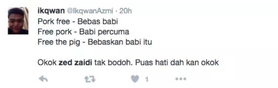 Kerana Tweet 'Pork Free',  Zed Zaidi Digelar Bodoh