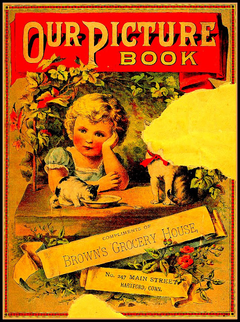 "blond girl rests on left arm with kitten drinking from milk bowl in foreground; banner at top reads ""Our Picture Book"""