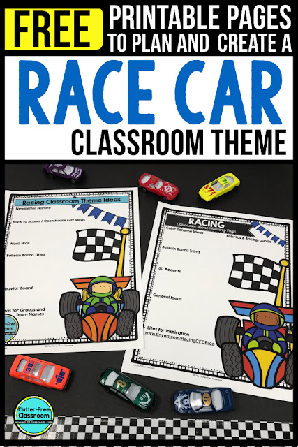 RACING Theme Classroom: If you're an elementary teacher who is thinking about a Race Car, Cars or a RACING theme then this classroom decor blog post is for you. It'll make decorating for back to school fun and easy. It's full of photos, tips, ideas, and free printables to plan and organize how you will set up your classroom and decorate your bulletin boards for the first day of school and beyond.