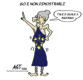 trattati di roma, unione europea, cee, madonna, europa, vignetta, satira