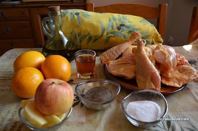Pollo con manzanas a la naranja ( suave )