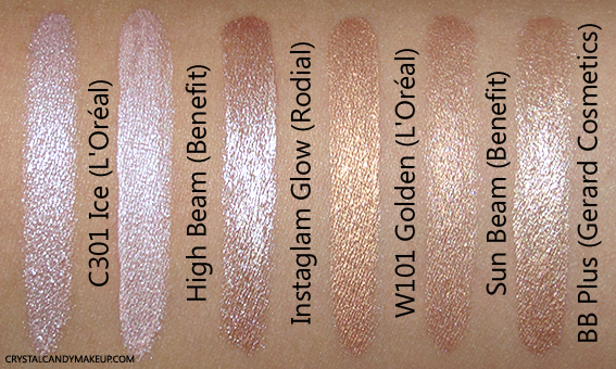 L'Oréal True Match Lumi Liquid Glow Illuminators W101 C301 Review Swatch Dupe Benefit High Beam Sun BB Plus