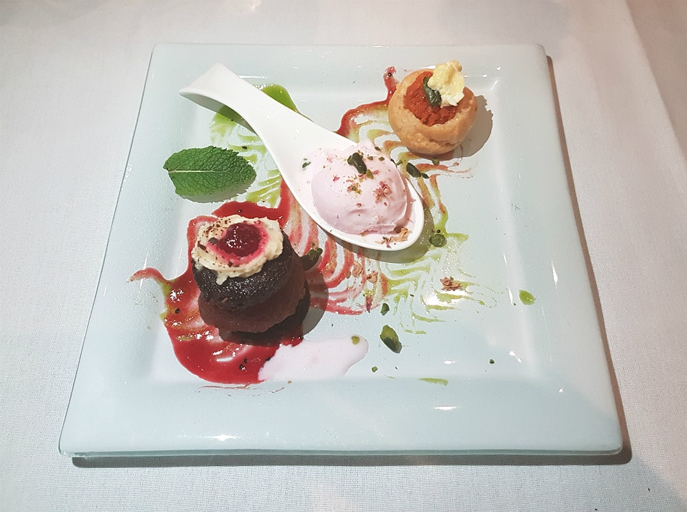 Painted heron - Carrot halwa profiterole, gulab jamun black forest and rose petal ice cream