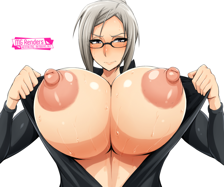 Tags: Anime, Render,  Bodysuit,  Huge Breasts,  Nipples,  No bra,  Prison School,  Shiraki Meiko,  PNG, Image, Picture