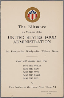 1917 Biltmore Hotel menu from NYPL Digital Collection