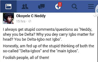 Igbo Vs Delta-Igbo: What A Guy Posted On Facebook