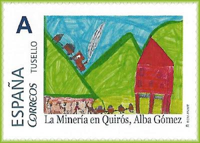 Sello personalizado de Grucomi con dibujo de Alba Gómez sobre la Minería en Quirós