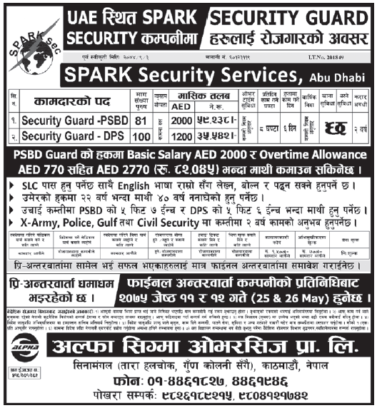 Jobs in UAE for Nepali, Salary Rs 82,045