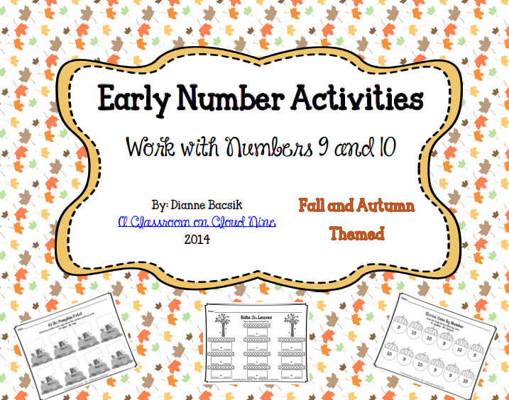 http://www.teacherspayteachers.com/Product/Early-Number-Activities-Working-with-Numbers-9-10-1378606