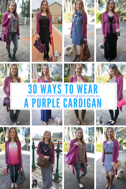 30 ways to wear a purple cardigan | Away From The Blue Blog pinnable pic