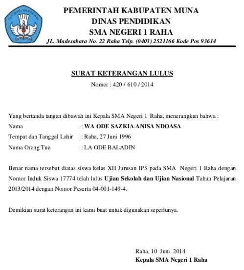 Contoh surat keterangan kelas 12 untuk SBMPTN