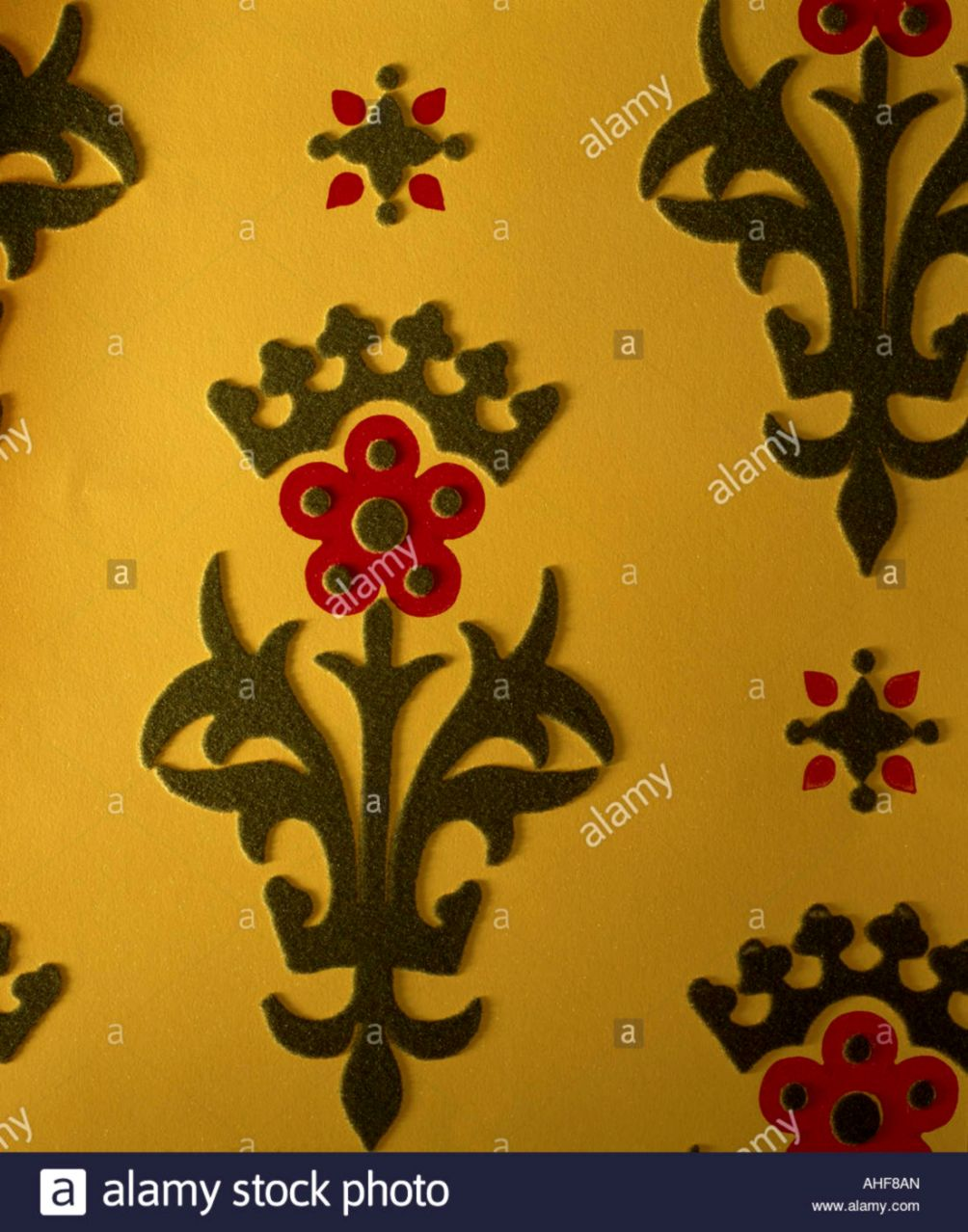 Close up of traditional Coles flocked wallpaper Stock Photo