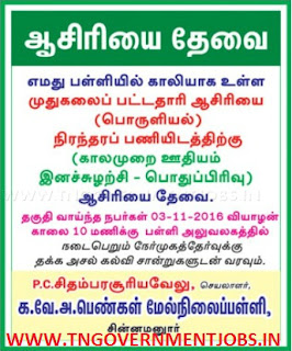 Walk in Interview for PG Teacher for Economics Subject in KVA Girls Higher Secondary School Chinnamanur Theni (Govt Aided School)