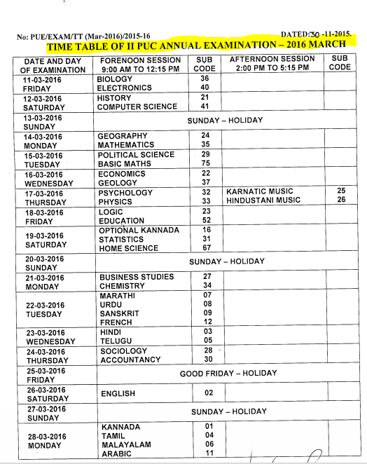 PUC 2 Timetable 2016