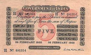 भारतीय पाँच रुपये का नोट (1922)