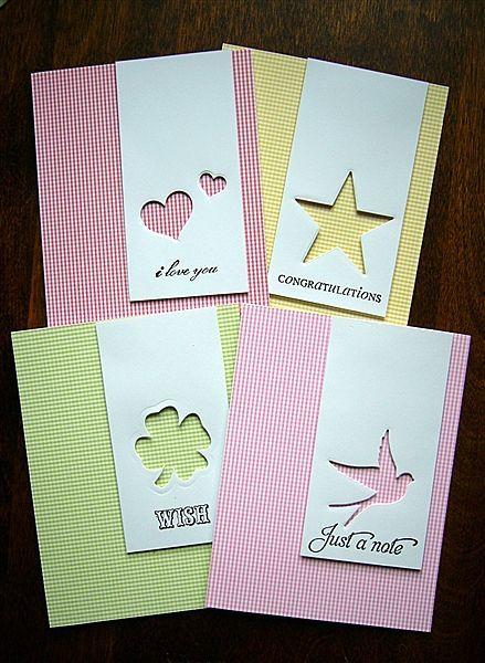 ensemble de cartes avec papier design et formes perforées