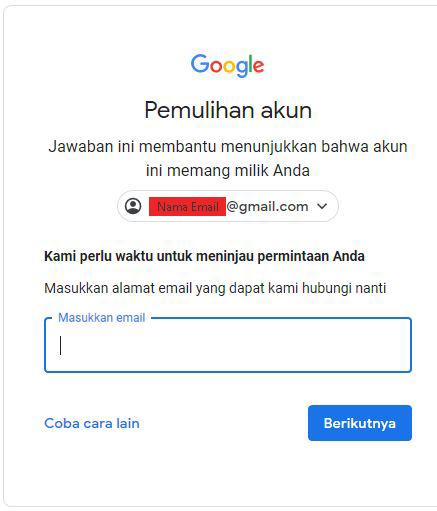 Reset Kata Sandi Gmail Menggunakan Email Pemulihan