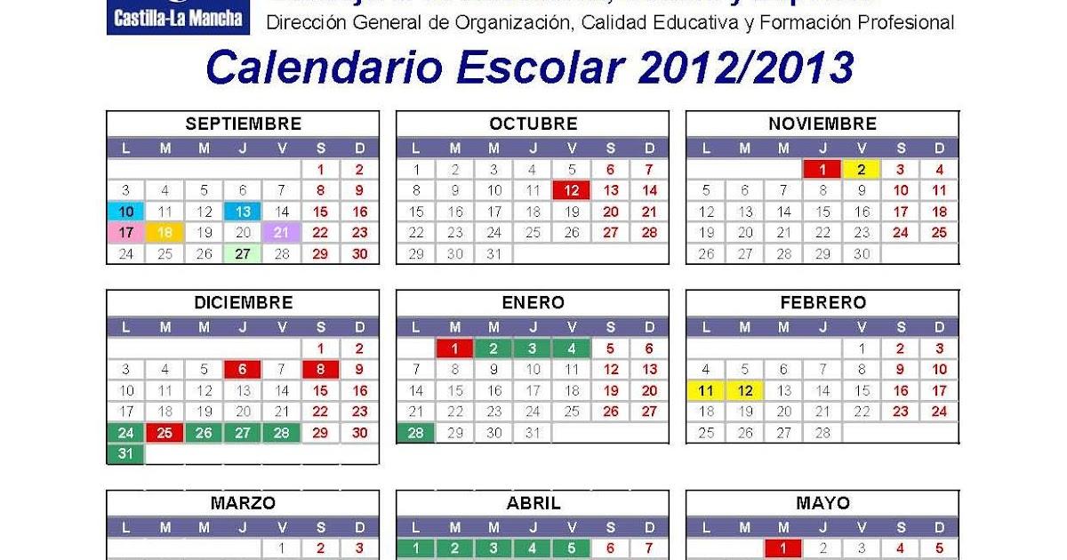 CALENDARIO ESCOLAR CASTILLA LA MANCHA 2012-13 PDF
