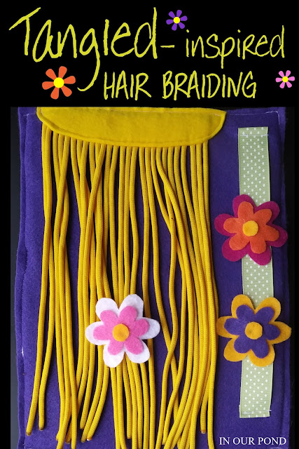Tangled Braiding and Tying Practice // Party Through the USA // quiet books // felt crafts // Road Trips  // Disneyland // Disney World // Disney Parks // Family Vacations // Disney Princesses // Pixar