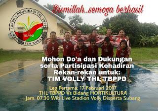 THL TBPPD Kab. Subang mengikuti turnamen voli di Dinas Pertanian Kab. Subang