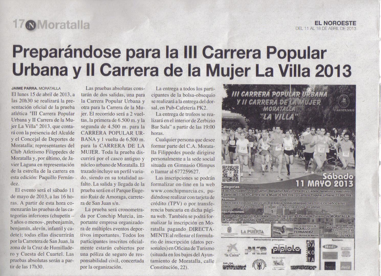RECORTES DE PRENSA DE LA III CARRERA POPULAR URBANA Y II CARRERA DE LA MUJER