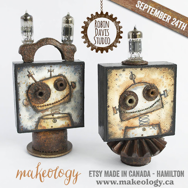 Robot Water colors with rustic vintage embellishment by Robin Davis Studio