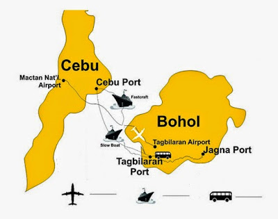 Map of Cebu and Bohol