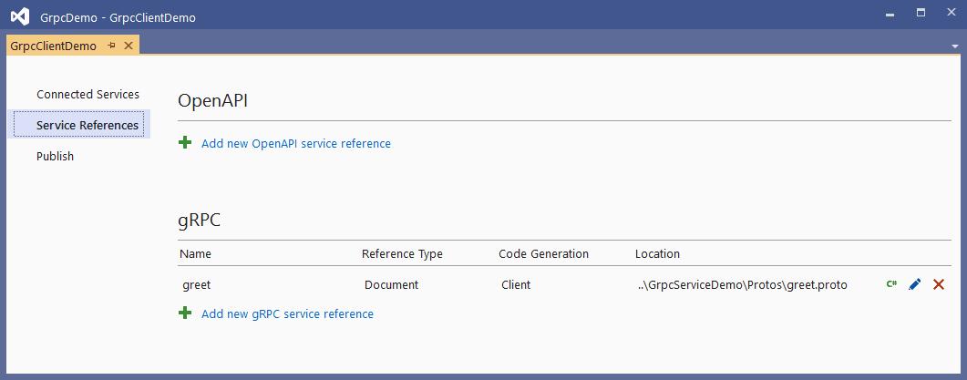 Referencia a servicio añadida
