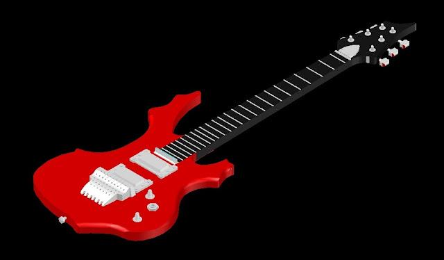 Gambar Kerja Gitar Elekrik 3D DWG Gratis