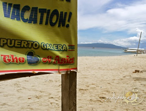 Banner at the beach - Vacation Puerto Galera Oriental Mindoro Philippines, the heart of Asia