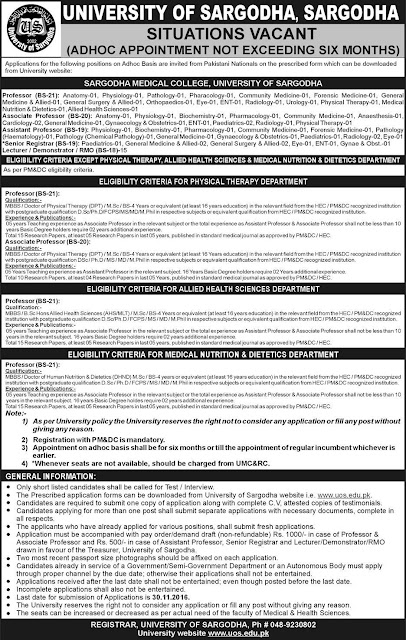 Doctors Jobs in University of Sargodha