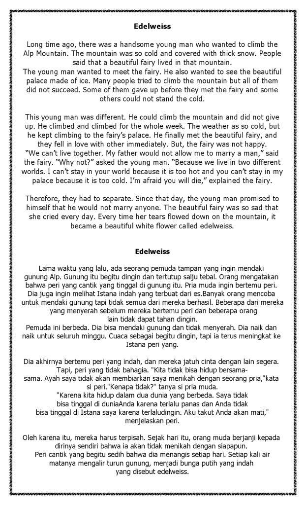 Cerita Berbahasa Inggris Legenda Bunga Edelweiss