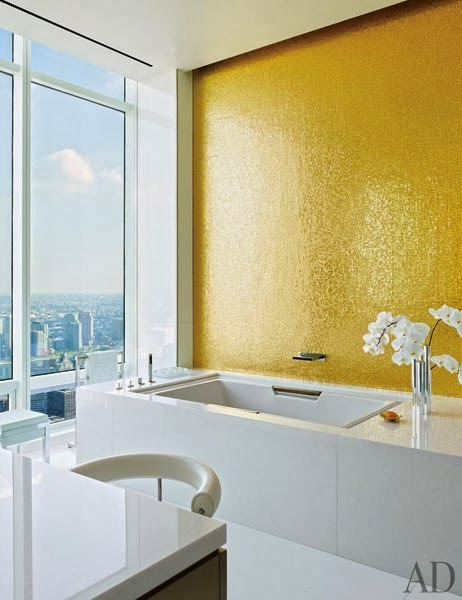 mosaico para baño en color dorado