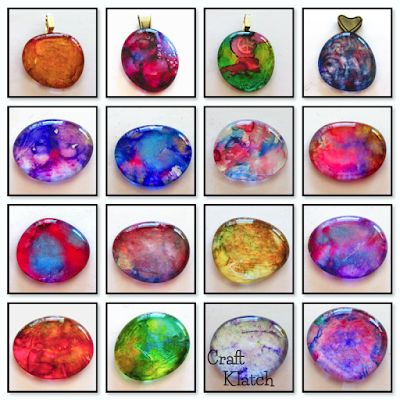 16 Alcohol ink pendants of varying colors