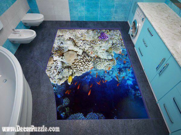 modern 3d bathroom floor murals designs, self-leveling floors for bathroom flooring ideas