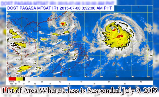 List of Area Where Class is Suspended July 9, 2015 Because of Typhoon Falcon