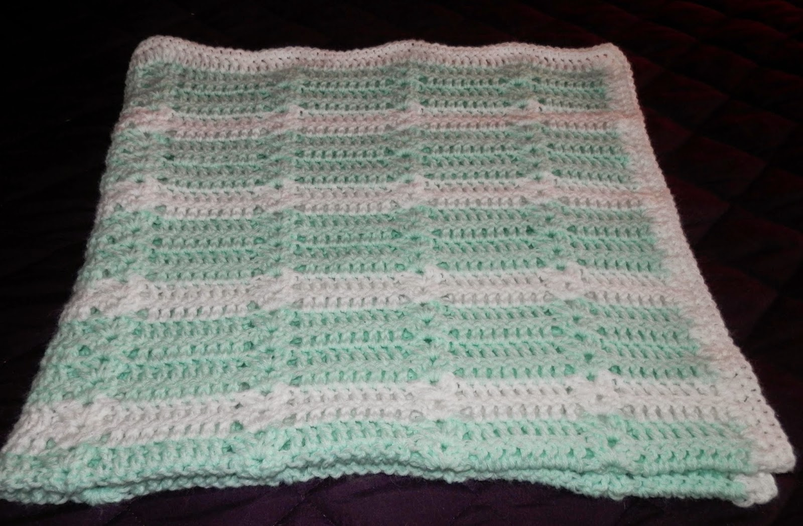 Mint Green And White Baby Blanket