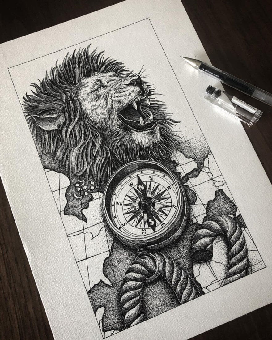 01-Lion-and-Compass-Gaspar-Animal-Stippling-and-Cross-Hatching-B&W-Drawings-www-designstack-co