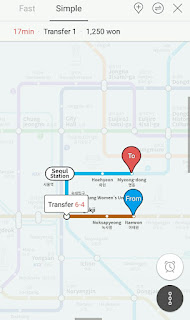 rute di aplikasi  metro korea