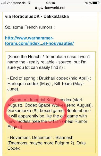 rumores warhammer 40000