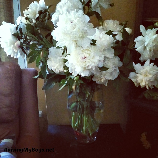 arrangement of white peonies