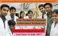 Government Medical College Recruitment 2017– 265 Technical Assistant, Laboratory Technician