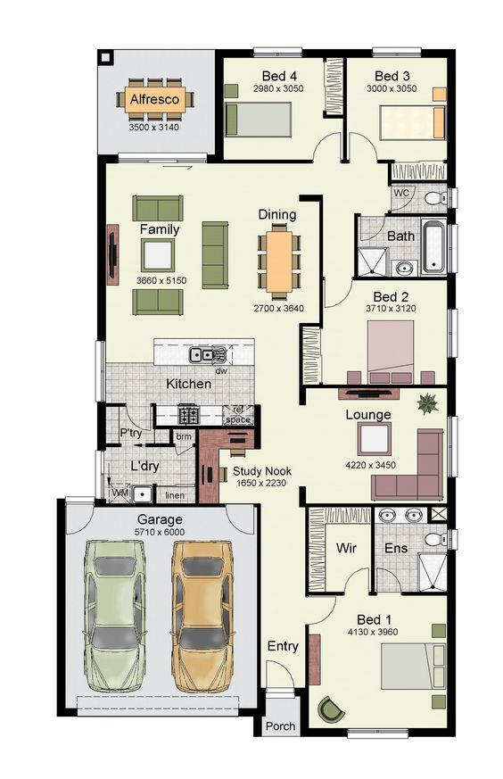 Single story home floor plan with 4 bedrooms, double garage, and 171 square meters