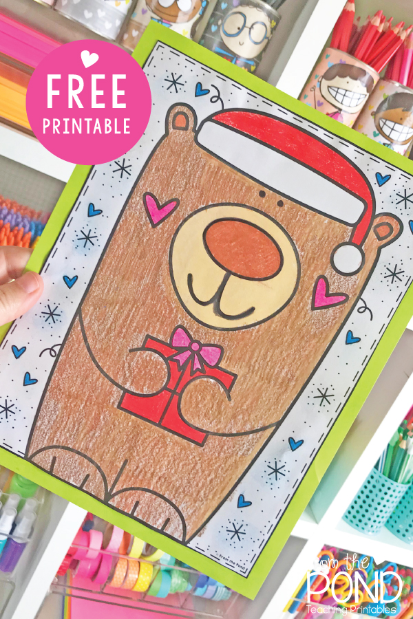 Christmas Bear Coloring Page Free