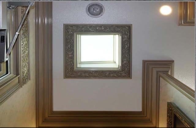 Wood Trim Skylight in Restroom Trailer