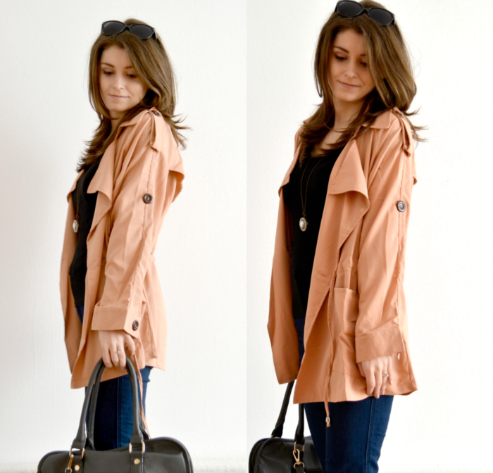 peach pink spring coat outfit ideas