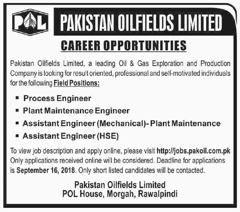 Pakistan Oilfields Limited Jobs 2018 | Rawalpindi | September