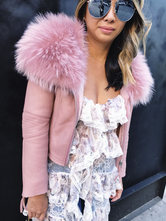 Pink Leather and Fur Jacket,